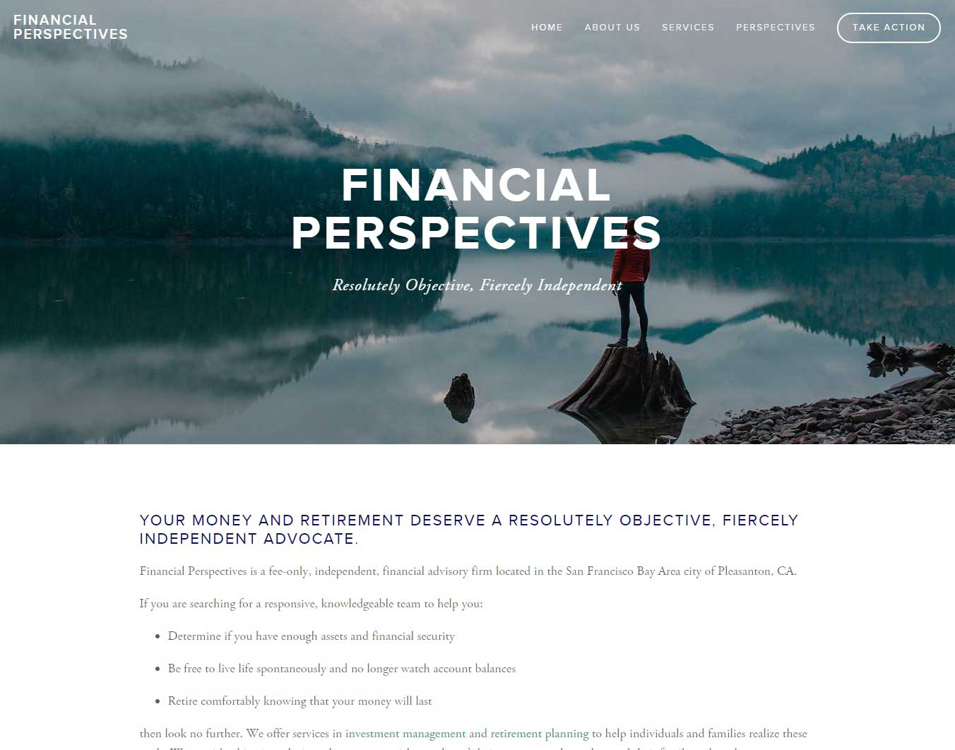 Client Financial Perspectives Website Design in Squarespace Application