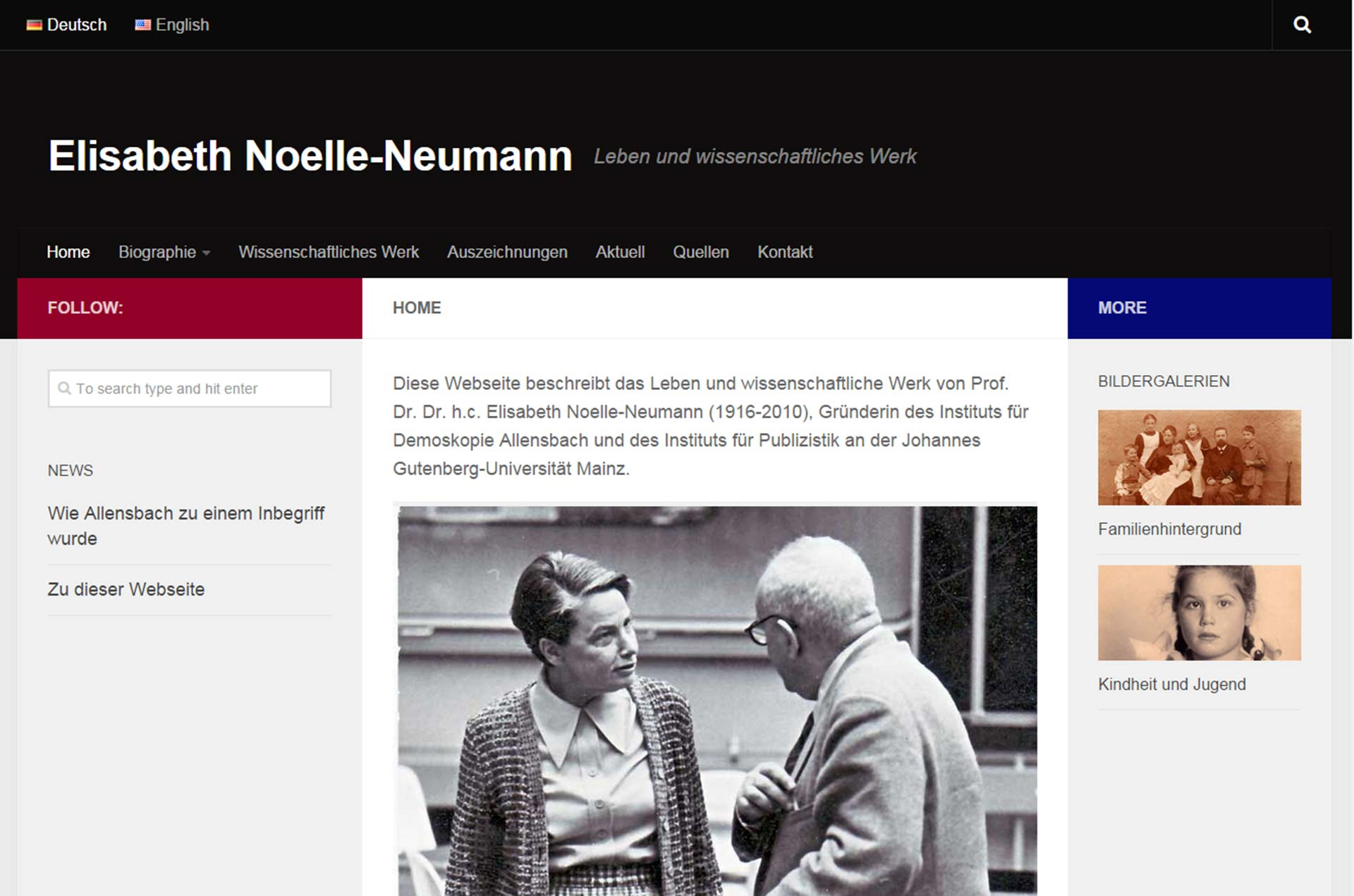 Elisabeth Noelle-Neumann Multilingual Website