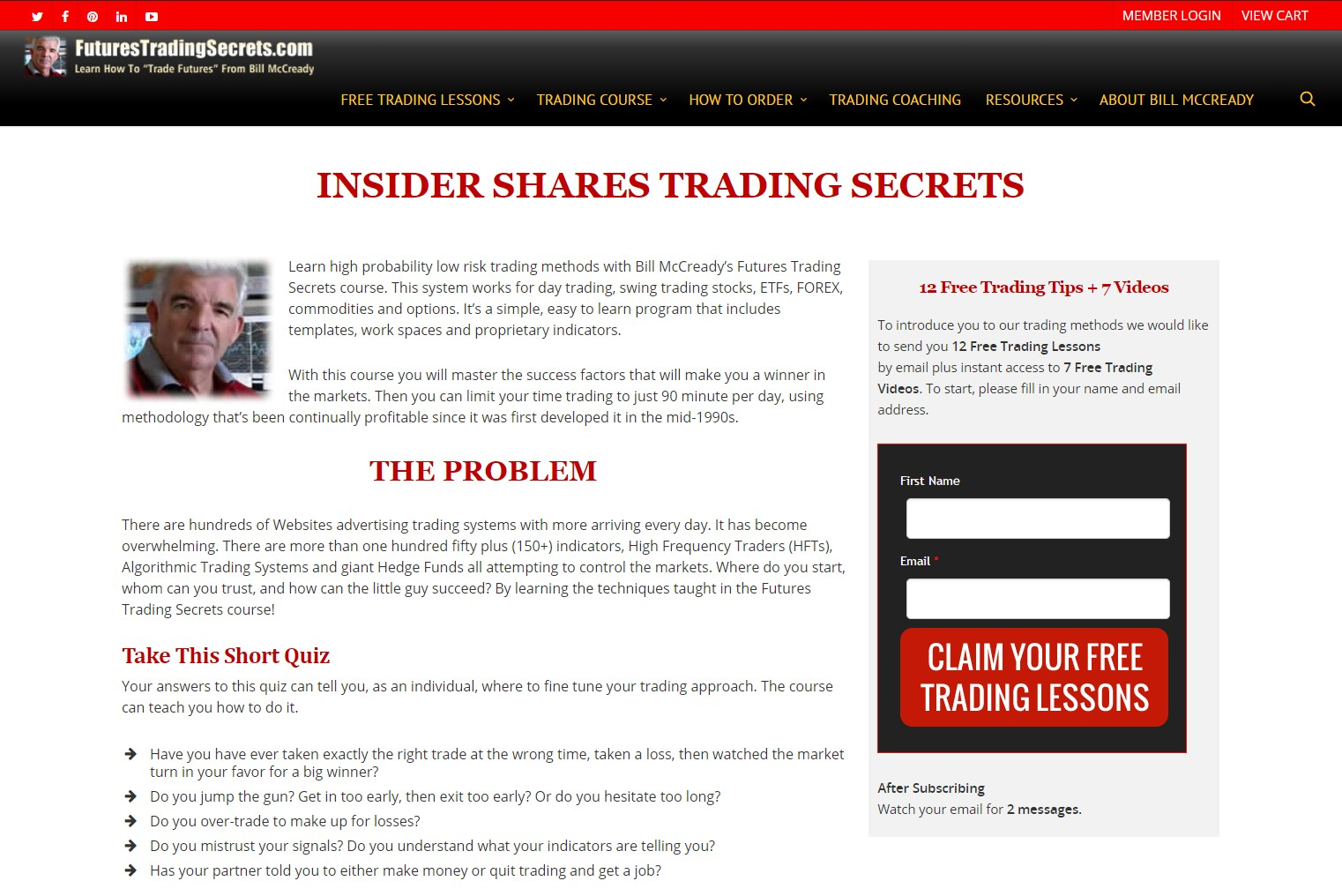 Futures Trading Secrets – Paid Membership Site, Protected Content and e-Commerce